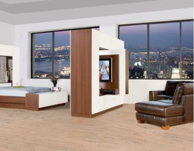 Room divider with rotatable TV mounts