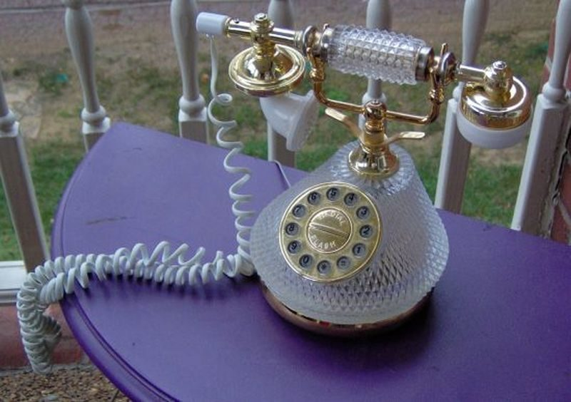 'Vintage 1980's Princess GLASS telephone' with poise retro looks