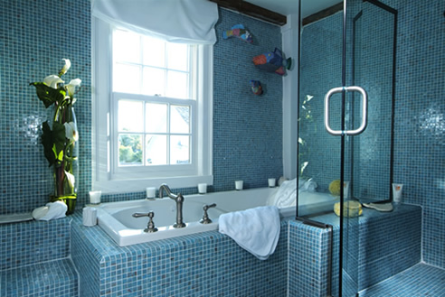 Color glory blue bathroom delight hometone home for Home automation shower