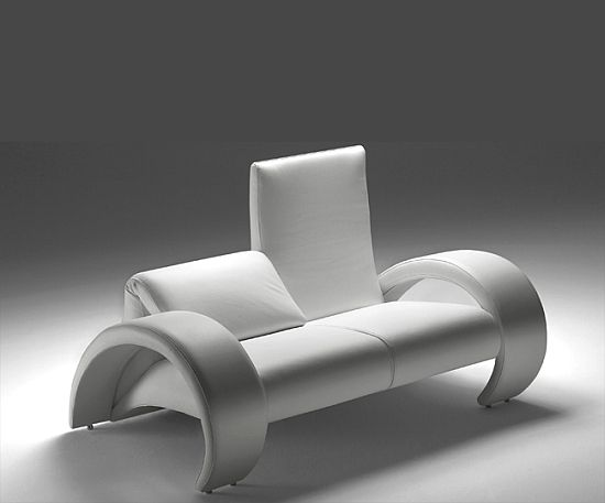abaco contemporary designer leather loveseat