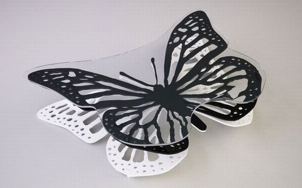 Black White Butterfly Coffee Table by Gamolov Svilen