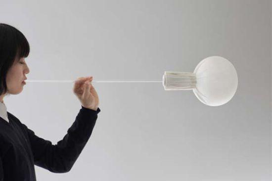 blown fabric light fixture installation by nendo 0