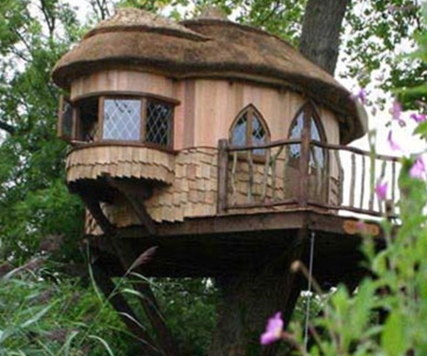 Blue forest tree house