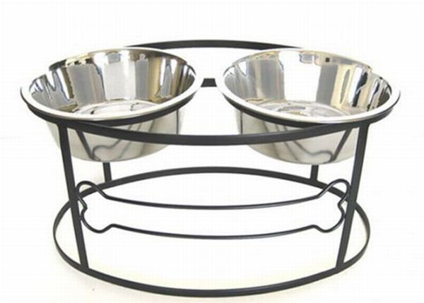 Bone Double Elevated Dog Bowl
