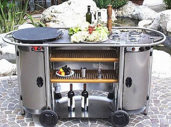 Modern and unique outdoor kitchen designs hometone for Mobile outdoorkuche