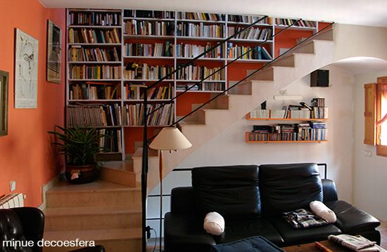bookcase shelves staircase 2