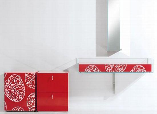 bright glass bathroom furniture
