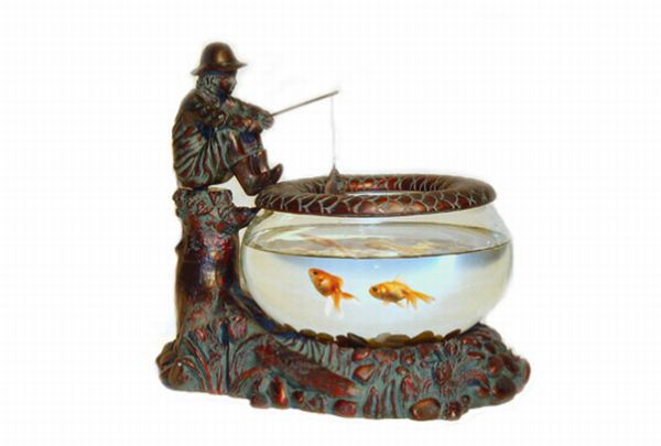 Bronze Little Fisherman Fish Bowl