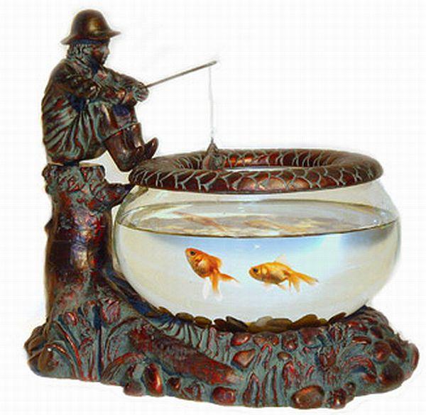 Betta art decorative figurine bronze orb glass bronze for Decorative fish bowls