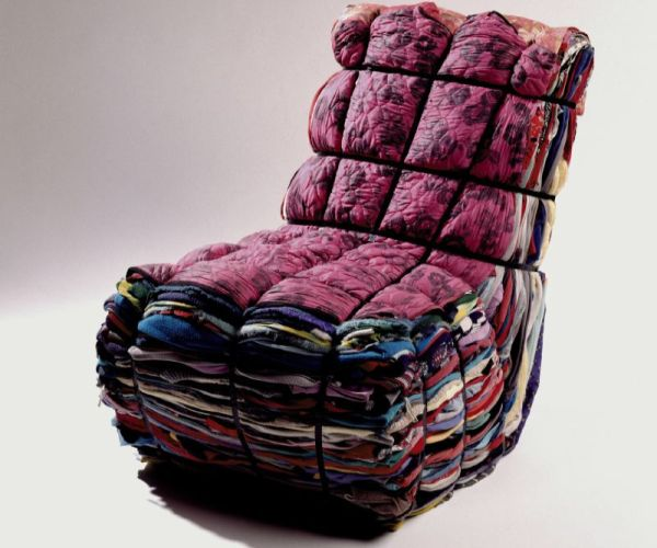 Chair from reused clothing