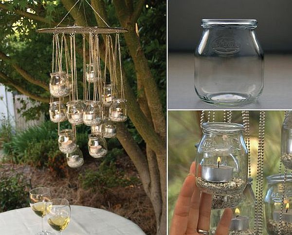 Chandelier made from recycled yogurt jars
