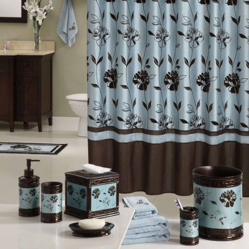 Designer shower curtains top 10 hometone home for Blue brown bathroom decor