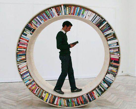circular walking bookshelf