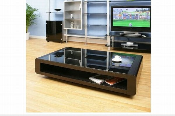 Coffee table with black oak top