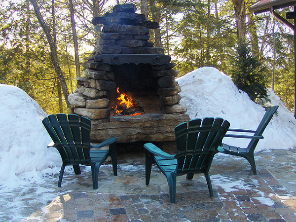 Constructed outdoor fire place