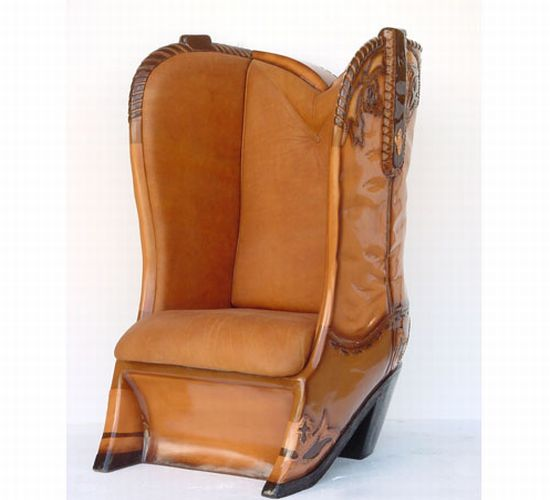 cow boy boot chair