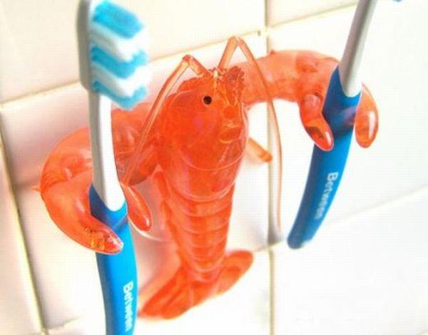 Crustacean toothbrush holder