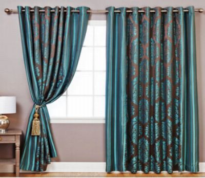 Enhance Your Home Decor With These Wide Width Damask Jacquard Curtain Pair.  The Beautiful Curtains Feature Elegant Design And Style, And Are Perfect  For ...