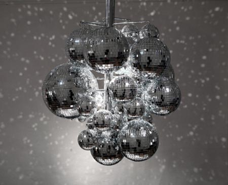 disco ball chandelier by front