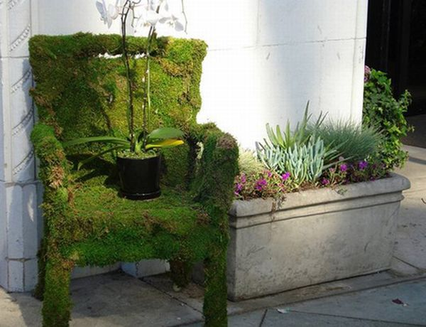 DIY moss covered chair
