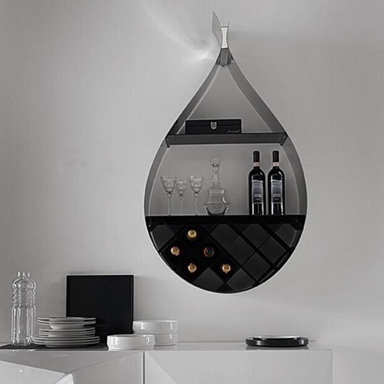 drop shaped contemporary wall wine rack 1