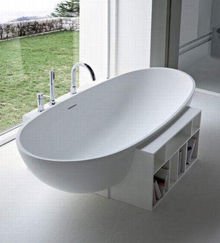 egg shaped bathtub with shelving