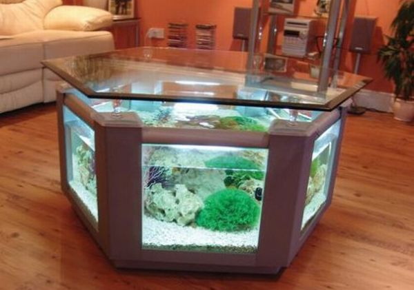 Most elegant coffee tables with built in aquarium hometone