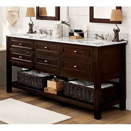 Espresso Wood Double Sink Bathroom Vanity