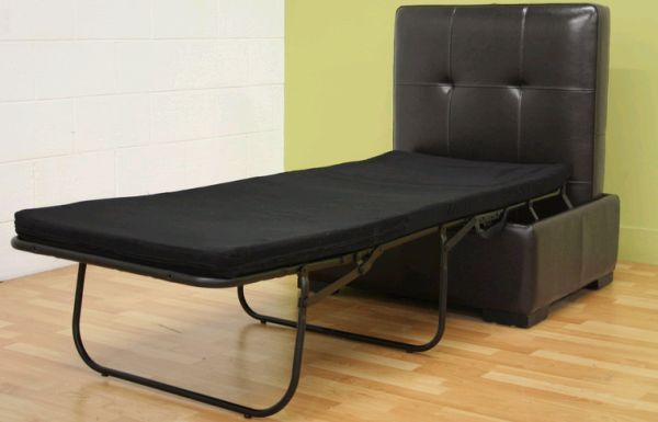 Full Leather Ottoman with Pull Out Bed