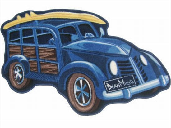 fun rugs dean miller blue woody surfboard rug