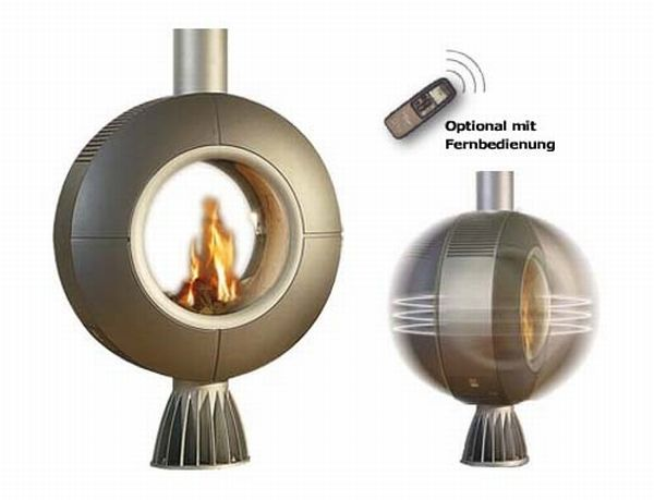 functional rotating fireplace by spartherm
