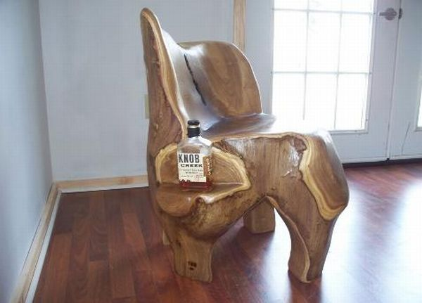 Furniture carved out of tree trunks