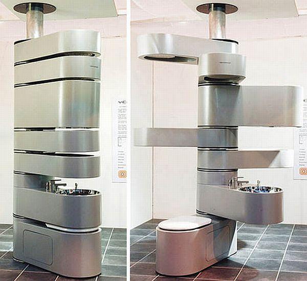 Futuristic column bathroom