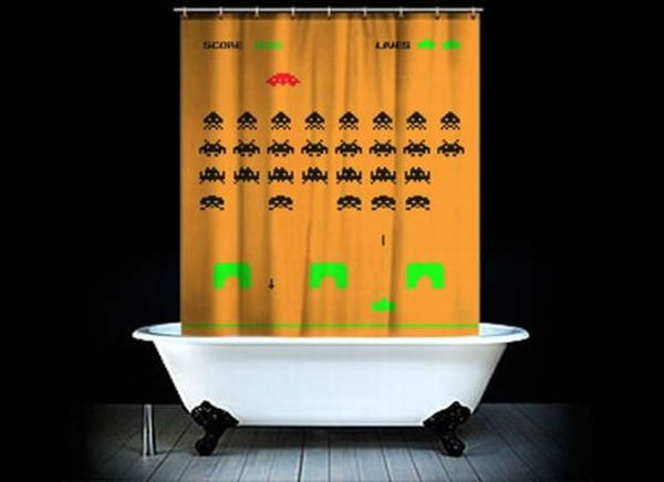 Geeky Space Invader Shower Curtain