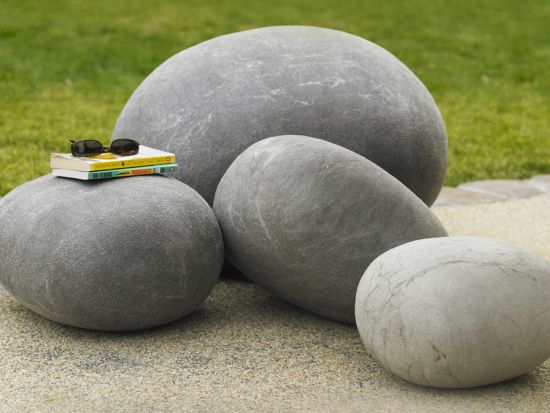 giant outdoor felted wool stones 1