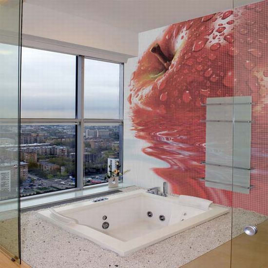 glass mosaic tiles with cool images for bathroom b