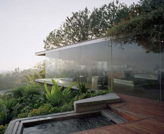 glass wall home in hollywood hills