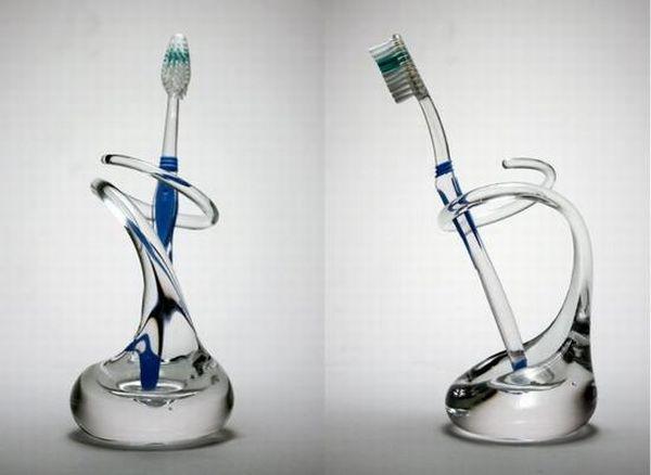 Glass toothbrush holder