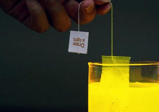 glowing tea bag