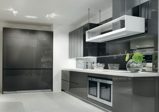 gray white kitchen design longline Salvadoran