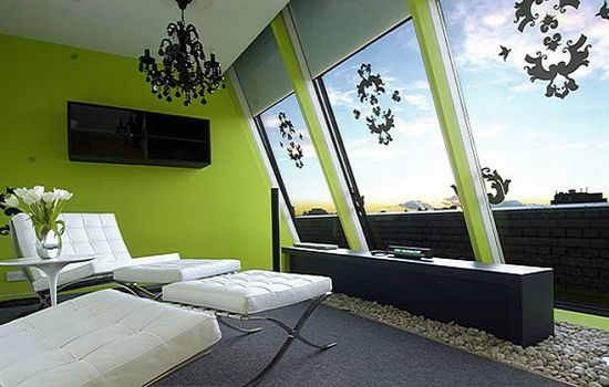 green themed house