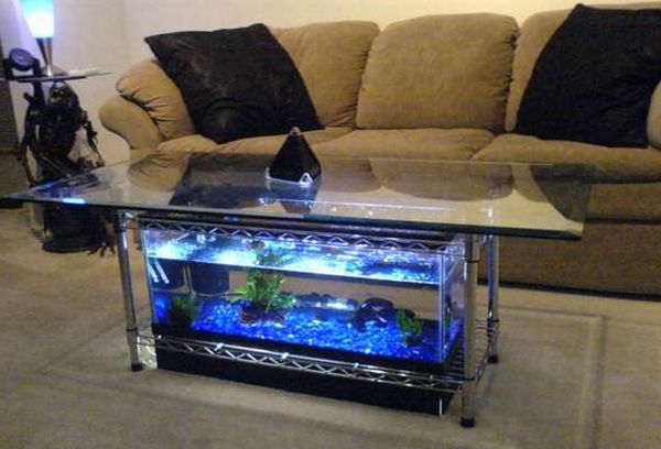 Most elegant coffee tables with built-in aquarium