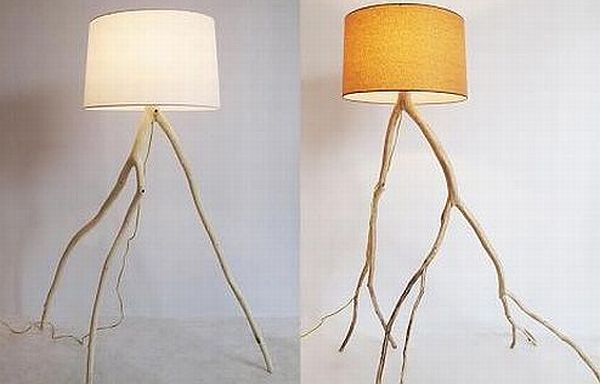 Lamps that stand on reused tree branches hometone - Hand made lamps ...