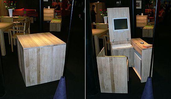 hidden wooden desk chair set
