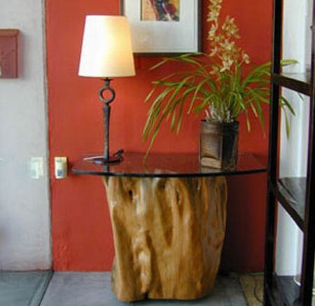 indonesian tree trunk console table