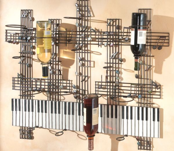 Keyboard Musical Notes Wall Sculpture Wine Rack