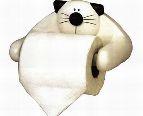 Kitty toilet paper holder