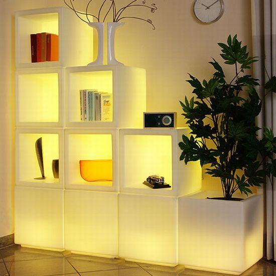led modular bookcase
