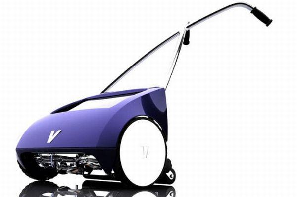 Manual solar hybrid lawnmower