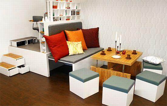 matroshka multifunctional furniture unit for cramped